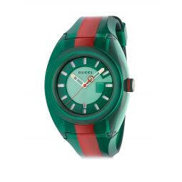 Transparent Nylon & Striped Rubber Strap Watch