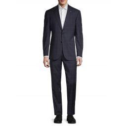 Windowpane Stretch Wool Suit