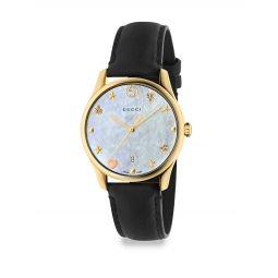 G-Timeless Crystal & Leather Strap Analog Watch