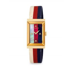 Rectangular Goldtone Stainless Steel & Web-Strap Watch