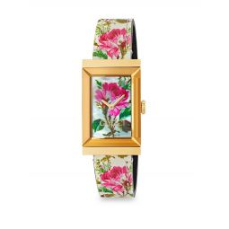 Mother-Of-Pearl Floral Leather Strap Watch