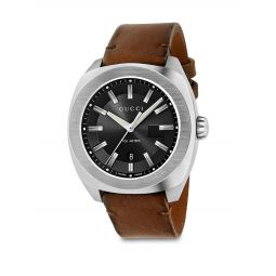 Stainless Steel & Leather Strap Watch