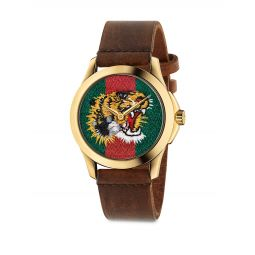 Le Marche Des Merveilles Tiger Yellow Goldtone PVD & Leather Strap Watch
