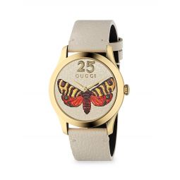 Yellow Gold PVD & Leather Strap Watch