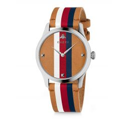 G-Timeless Stripe Wide Leather Strap Watch