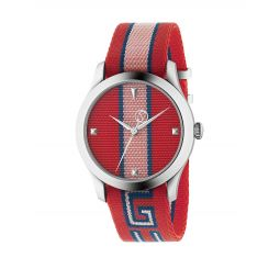 G-Timeless Stripe Textile-Strap Watch