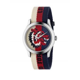 Wolf Stainless Steel & Striped Nylon Strap Watch