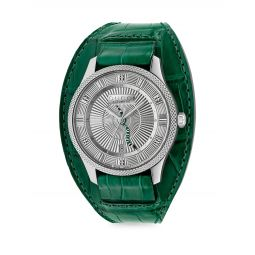 Eryz Round Stainless Steel Emerald Alligator Leather Cuff Watch