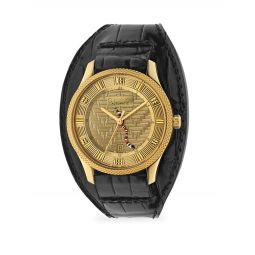 Eryz Round Gold-Plated Stainless Steel Alligator Leather-Strap Watch