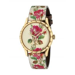 G-Timeless Floral Leather Strap Watch