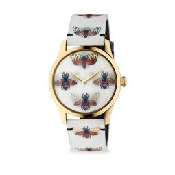 G-Timeless Goldtone PVD Case 38MM Bees and Butterfly Hologram Watch