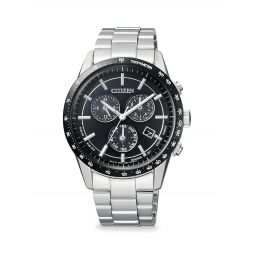 Global Eco-Drive Chronograph Stainless Steel Bracelet Watch
