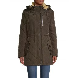 Faux Fur-Lined Quilted Coat