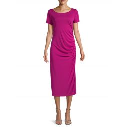 Side Tucked Short-Sleeve Dress