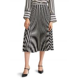 Annina Striped Pleated Midi Skirt