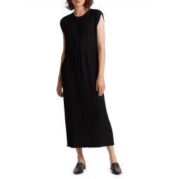 Pleated Cap-Sleeve Dress