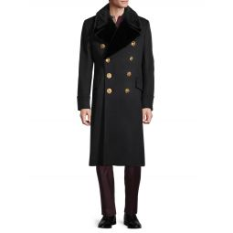 Mink Fur-Trim Cashmere & Virgin Wool-Blend Coat