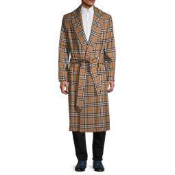 Plaid Wool Wrap Coat