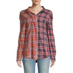 Off-Shoulder Two-Tone Plaid Shirt