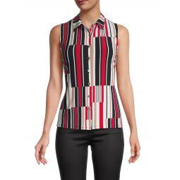 Abstract Stripe Sleeveless Top