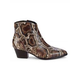 Henna Snakeskin-Embossed Leather Booties