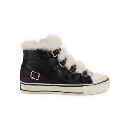 Valant Faux Fur Trim Leather High-Top Sneakers