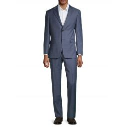 2-Piece Standard-Fit Wool-Blend Sharkskin Jacket & Pants
