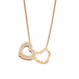 18K Rose Gold & Crystal Heart Pendant Necklace