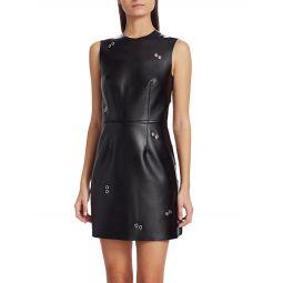 Coleta Faux Leather Grommet Dress