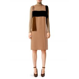 Leather Strap Contrast Panel Silk Shift Dress