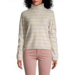 Striped Cashmere Turtleneck Sweater