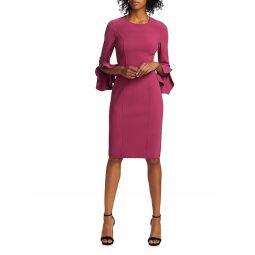 Stretch Wool Crepe Ruffle-Sleeve Sheath Dress