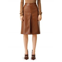 Faux-Leather Pleat Skirt