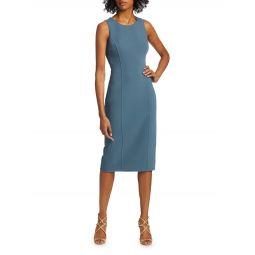 Stretch Boucle Roundneck Sheath Dress