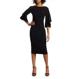 Stretch Wool Crepe Flutter-Sleeve Sheath Dress