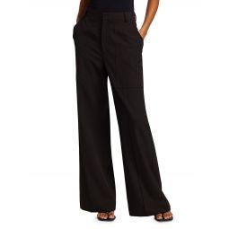 Wide-Leg Gabardine Wool-Blend Pants