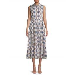Ceramic-Print Tiered Silk Dress