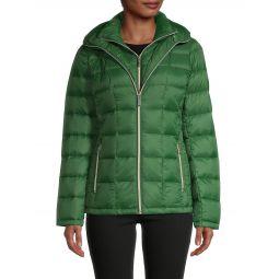 Nylon Hooded Puffer Jacket