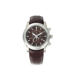 Stainless Steel Chronograph Leather-Strap Watch