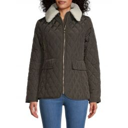 Missy Faux Fur-Collar Quilted Jacket