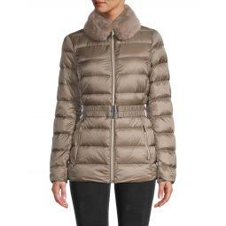 Missy Belted Faux Fur-Trim Down Jacket