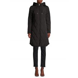 Quilted Tech Weave Hooded Coat