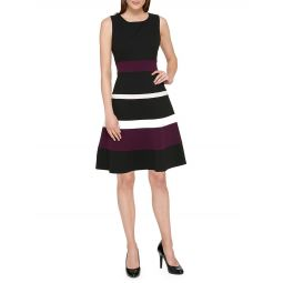 Colorblock Fit-&-Flare Dress