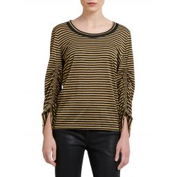 Striped Cinched Sleeve Tee