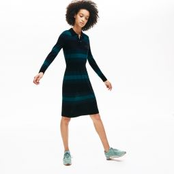 Womens Fitted Striped Wool Polo Dress