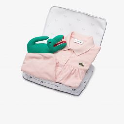 Girls Polo Dress, Bloomers And Croc Plush Toy Baby Gift Set