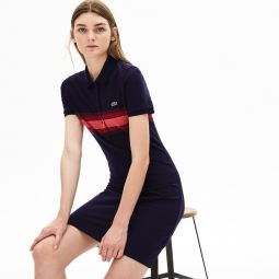 Womens Color Block Stripe Polo Dress