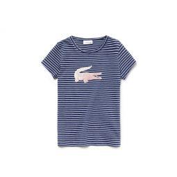 Girls Crew Neck Oversized Crocodile Striped Jersey T-shirt