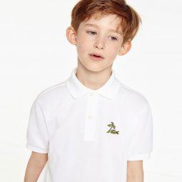 Boys Embroidered Cotton Petit Pique Polo