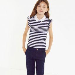 Girls Striped Cotton Polo